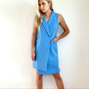Adelyn Rae Blue Sleeveless Blazer Dress Small